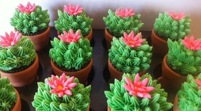 Cupcake Desain Kaktus