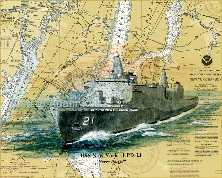 USS New York LPD-21 Watercolor Giclee Print on New York Harbor Nautical Chart by Adam Koltz
