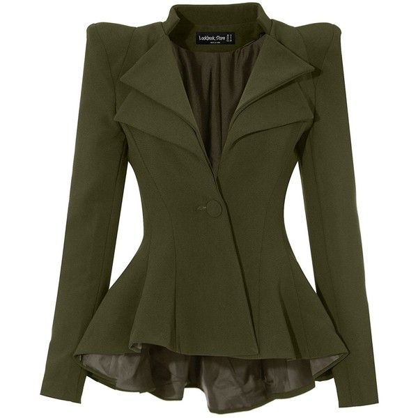 LookbookStore Women Double Notch Lapel Sharp Shoulder Pad Asymmetry... (15.895 HUF) ❤ liked on Polyvore featuring outerwear, jackets, blazers, notch collar jacket, shoulder pad blazer, green jacket, padded shoulder blazer and green blazer jacket