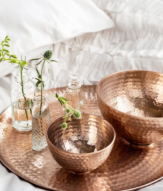 h&m home beaten copper and dimpled glass