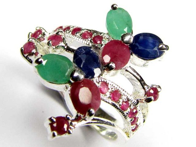 STUNNING RUBIES,SAPPHIRE AND EMERALDS 7 1/2 RING  SIZE 90681 gemstone ring, muti cluster ring, silver ring gemstones