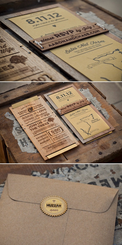 Laser CutEngraved Wood Wedding Invitation by Chase