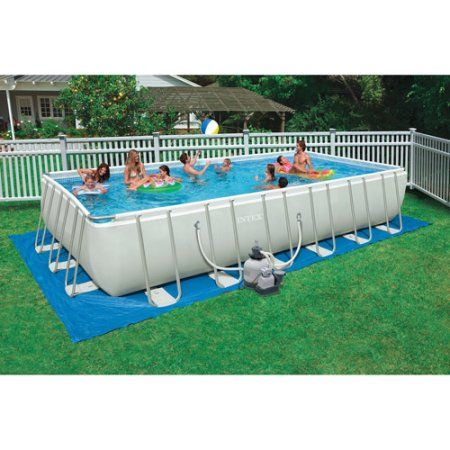 Intex 24' x 12' x 52 inch Ultra Frame Rectangular Above Ground Swimming Pool with Sand Filter Pump, Gray