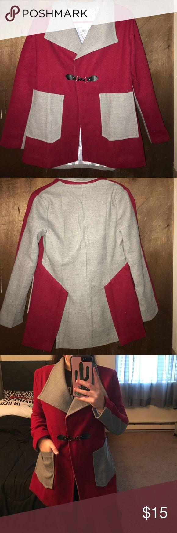 Red/ grey pea coat Red and grey Small Jackets & Coats Pea Coats