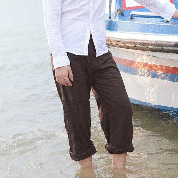 Men's Summer Lightweight Casual Cotton Linen Elastic-Waist Pants M-3XL 6 Colors