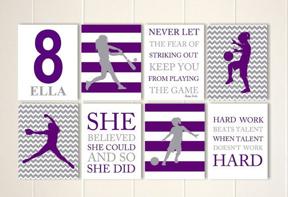 Softball wall art, soccer girl wall art, softball room decor, girls wall art, motivational girls art, gift for girl, set of 8