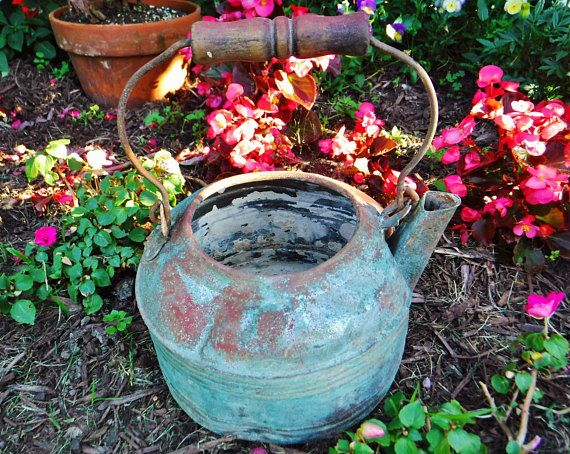 Rustic Kettle/Tea Kettle/Rustic Farmhouse Decor/Garden