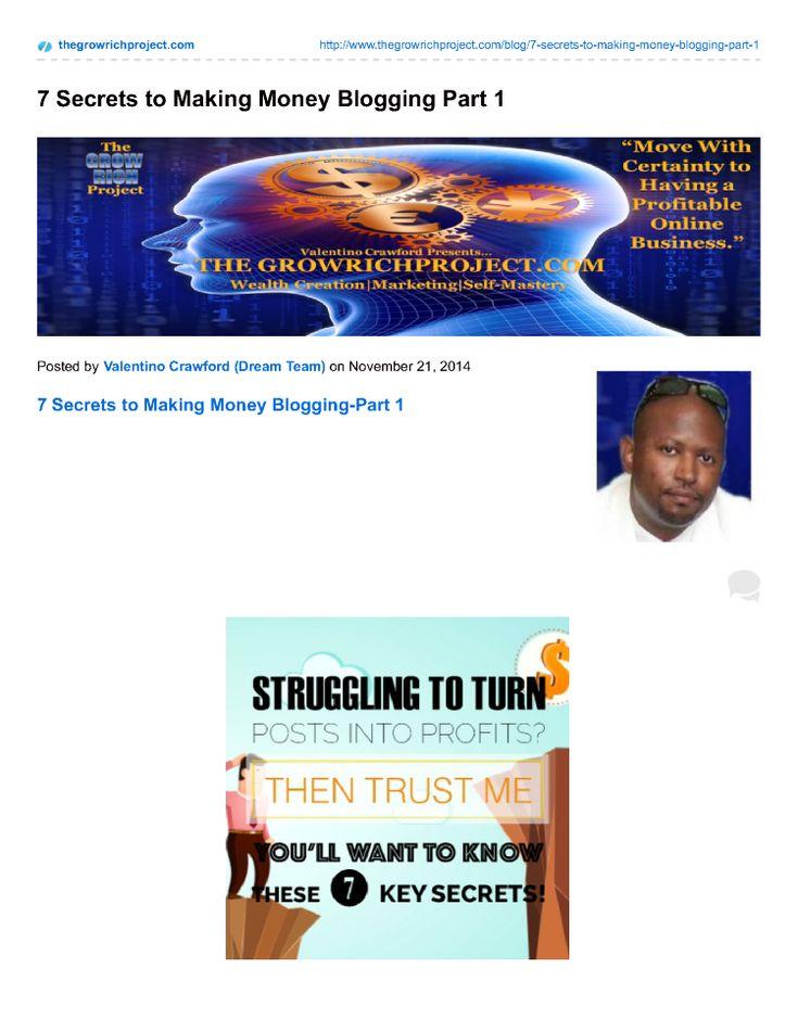 7 Secrets to Making Money Blogging Part 1 |authorSTREAM