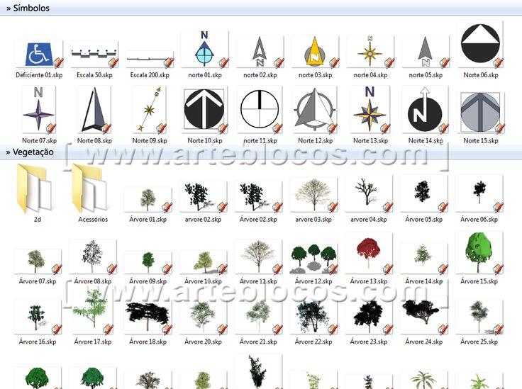 Amostra de Blocos Sketchup de vegetação, árvore, planta, trepadeira, flor, jardim, norte, símbolo, simbologia, deficiente, seta, tudo em 3d.