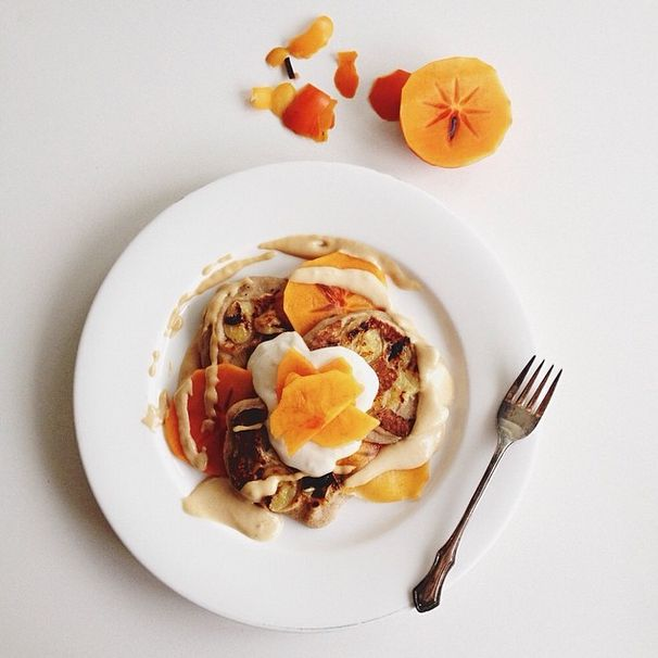 From our beautiful friend @jescoxnutritionist (-: xx Why I don't have breakfast envy of the boys (see previous post) Triple banana pancakes w persimmon, caramel tahini sauce n banana tofu yoghurt. I used the buckwheat pancake recipe off the website and added banana to my batter along with banana slices pressed into the pancakes while cooking. For the tahini caramel I mixed @mayversfoodtahini, @loving_earth mesquite, vanilla extract, maple & water.
