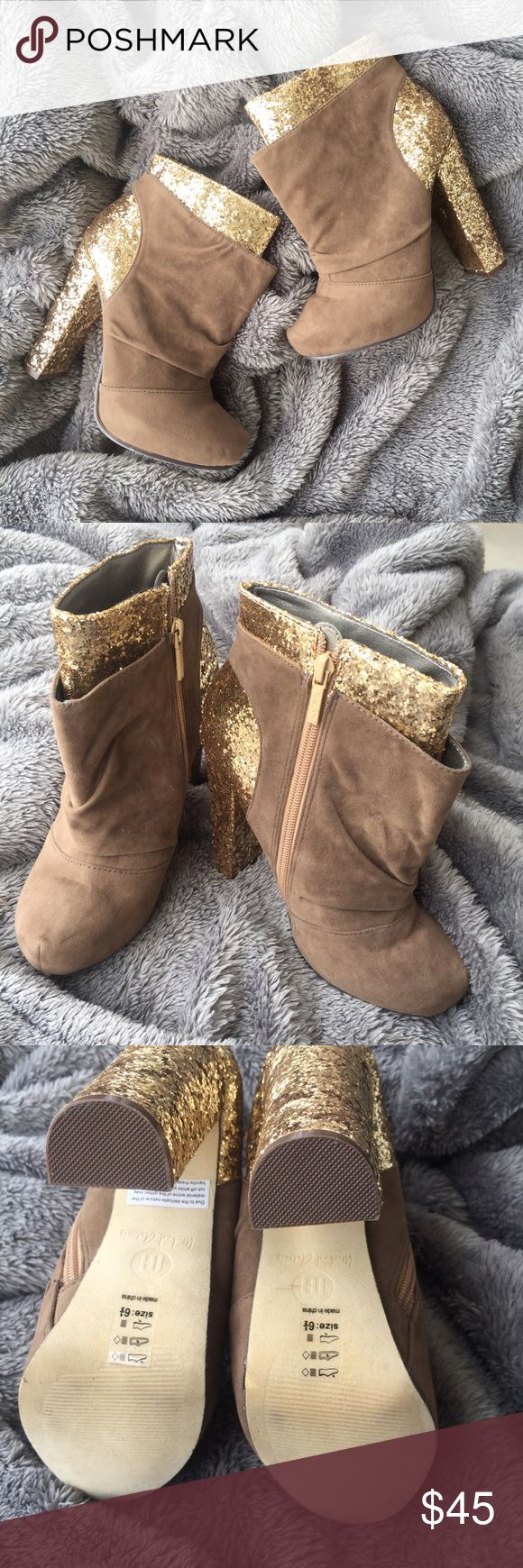 "Michael Antonio Taupe Velvet Glitter High Boot 6.5 New without box Michael Antonio Taupe Velvet Glitter High Heel Platform Mills Boots Size 6.5 Heel is 5"". Michael Antonio Shoes Heeled Boots"