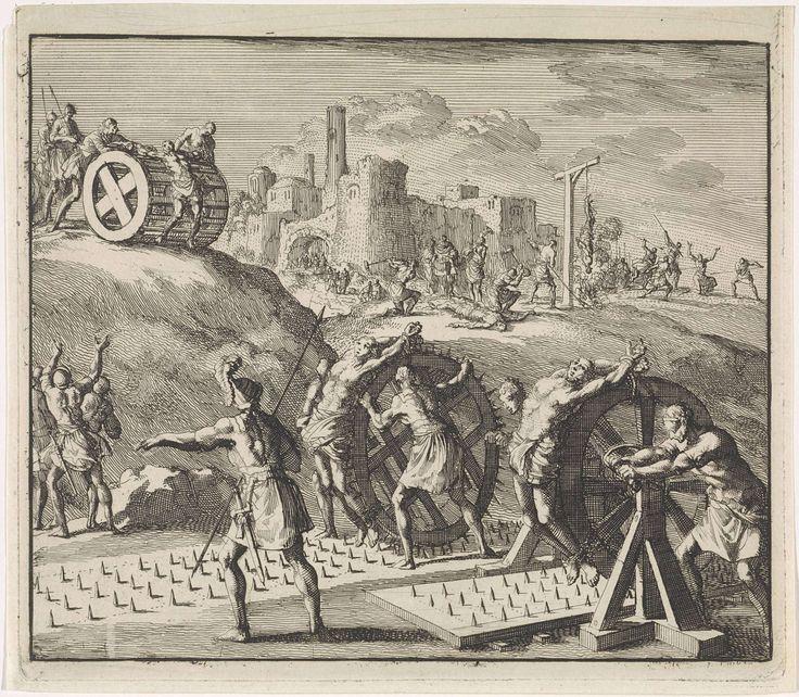 Jan Luyken | Marteldood van enkele christenen, Jan Luyken, 1700 | Enkele gevangen christenen worden door Romeinse soldaten doodgemarteld. Ze worden vastgebonden op draaiend rad, dat vervolgens over een plaat met spijkers rolt. Op de achtergrond andere martelpraktijken zoals radbraken.