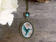Hummingbird necklace Cross stitch hummingbird by TriccotraShop