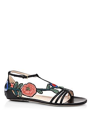 05dd7b19ecf Gucci Ophelia Floral-Embroidered Flat Sandals