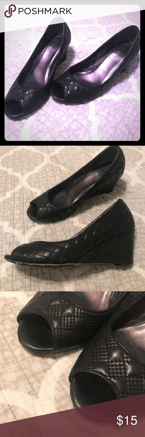Cole Haan quilted Black peep toe wedges sz 8 Coke Haan quilted Black peep toe wedge heels. Stylish, professional, sophisticated, and comfortable! Cole Haan Shoes Wedges