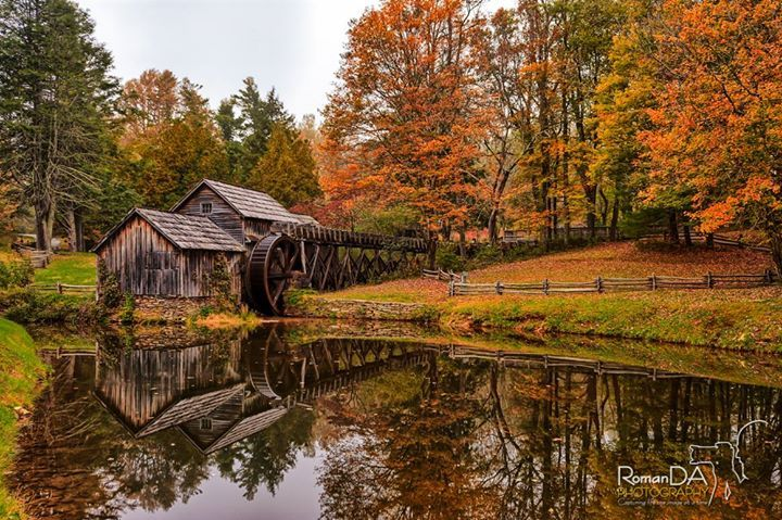 #MabryMill #BlueRidge #mill #autumn #fall #leaves #water #reflection #mill @SarahFortnerWx   Who will give this a like? love? WOW? Share??  I know you want to!  Well I'm only missing the mill coved in snow now.  Who will drive me up when it snows???  Love this mill the reflection the colors of fall leaves the beauty of it all. The wheel was being moved by the water left over from Hurricane Matthew.  Thanks! David -- had to update - Fb messed up the photo…