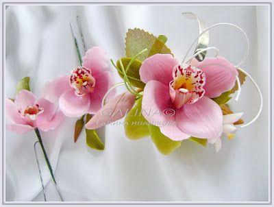 НЕУВЯДАЮЩИЕ ЦВЕТЫ: Свадебный комплект Розовые орхидеи- браслет, заколка и бутоньерка.