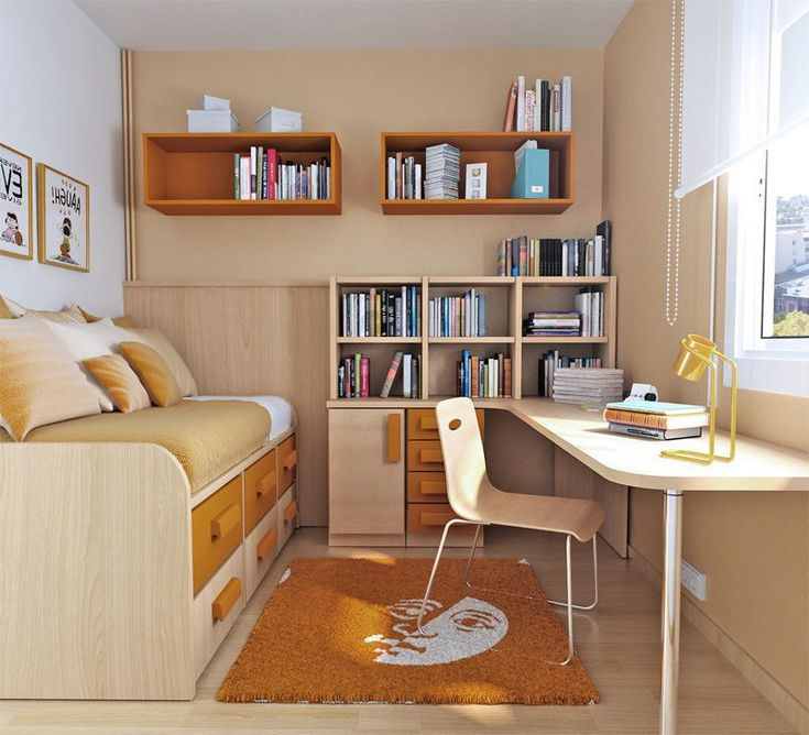 Day bed w drawers under, plenty of desk space near window, book shelf on desk, w drawers AND wall shelves. (Definitely need different colors for her.)