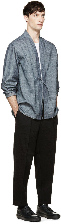 Naked & Famous Denim: Indigo Selvedge Kimono Shirt | SSENSE
