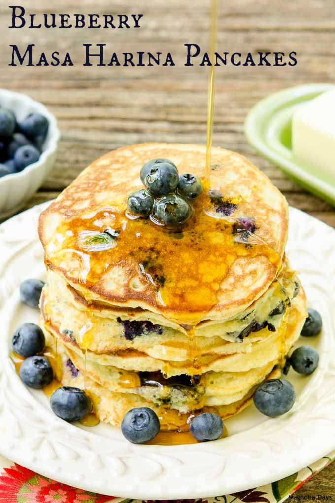 Blueberry Masa Harina Pancakes are sweet, fluffy, and loaded with fresh blueberries. They have a delightful corn flavor and are gluten-free.