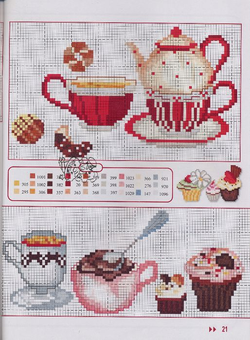 Tea and cupcake cross stitch chart 2