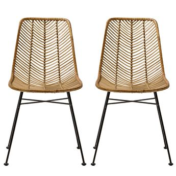 Lot de 2 Chaises en rotin Lena Naturel - Bloomingville