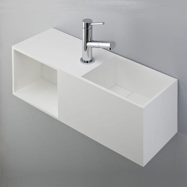 Lave-mains design 36x26 cm, rangement et robinet à gauche, Solid Surface