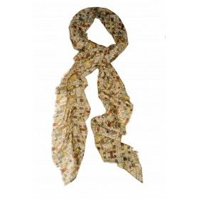 Large scarf - April by Vita Gottlieb from Miratis.com. Large micro-modal and wool scarf with a multicoloured print. This scarf is suitable for all seasons. The design is hand drawn with graphite and painted in water-colour and gouache. Subtle colour tones evoke the mood of lazy days, highlighting the graphic style of vintage textiles and 50s graphic design. Printed in Como, Italy, and hand finished in the UK.Two edges are fringed and two are hand-rolled