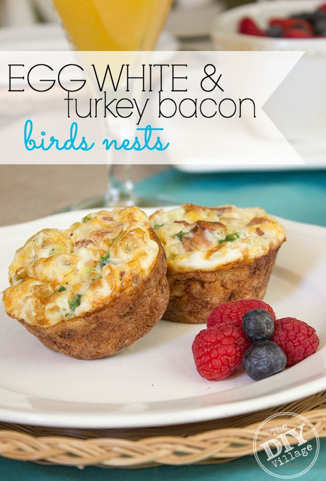 Egg White & Turkey Bacon Birds Nests.  Perfect for brunch, Mother's Day, or any day.  3 Weight Watchers SmartPoints.  So Yummy!