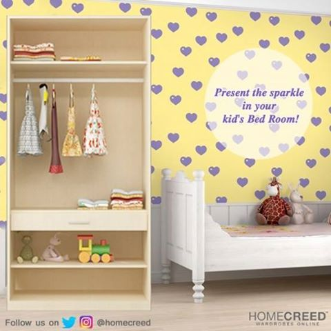 Kid's closet needs as much organization, storage and style as ours, Isn't it? With HomeCreed, you can find #wardrobes that suit your kid's requirements for easy stacking when they grow from little boys and girls, into teenagers. #KidsWardrobe #KidsRoom #KidsCloset #OrganizedCloset