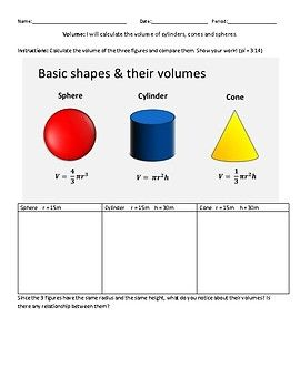 Students will calculate the volume of a cylinder, cone and sphere with similar dimensions and compare their volumes. Hits the Common Core Standards 8.G.C.9 and TEKS 8.7A *Answer key included! Excellent for state assessment preparation! Assess the general quality of my work with my free download!