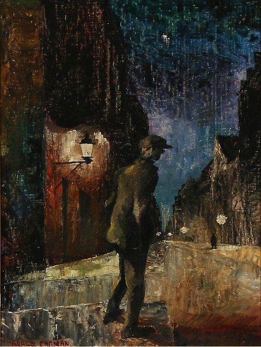 Copenhagen by Night, Harald Engman. Danish (1903 - 1968) - Oil on Canvas -