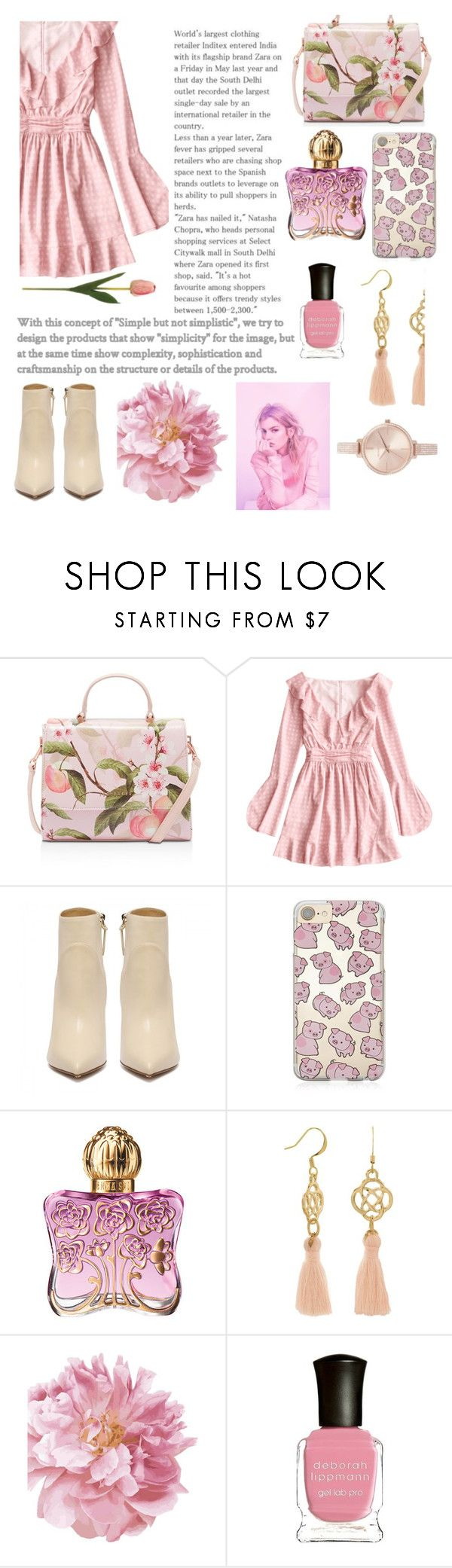 """""""This Spring wear pink"""" by georgianaroberta ❤ liked on Polyvore featuring Ted Baker, Forever 21, Anna Sui, Deborah Lippmann and Michael Kors"""