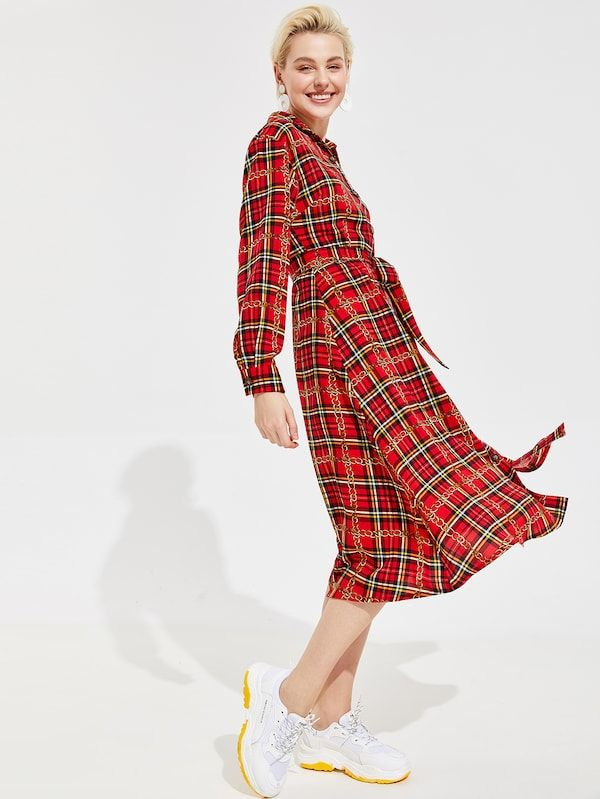 c4750ec834 Chain Print Plaid Shirt Dress With Belt -SHEIN(SHEINSIDE ...