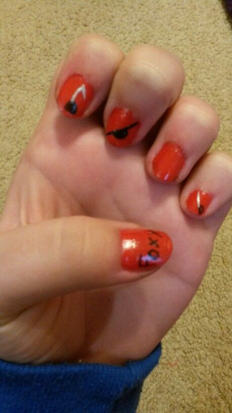 So I decided to paint my nails last night... I think I did pretty good I:3 Foxy nails from Five Nights At Freddy's... And an fyi the pinky finger is suppose to be a sword... :3