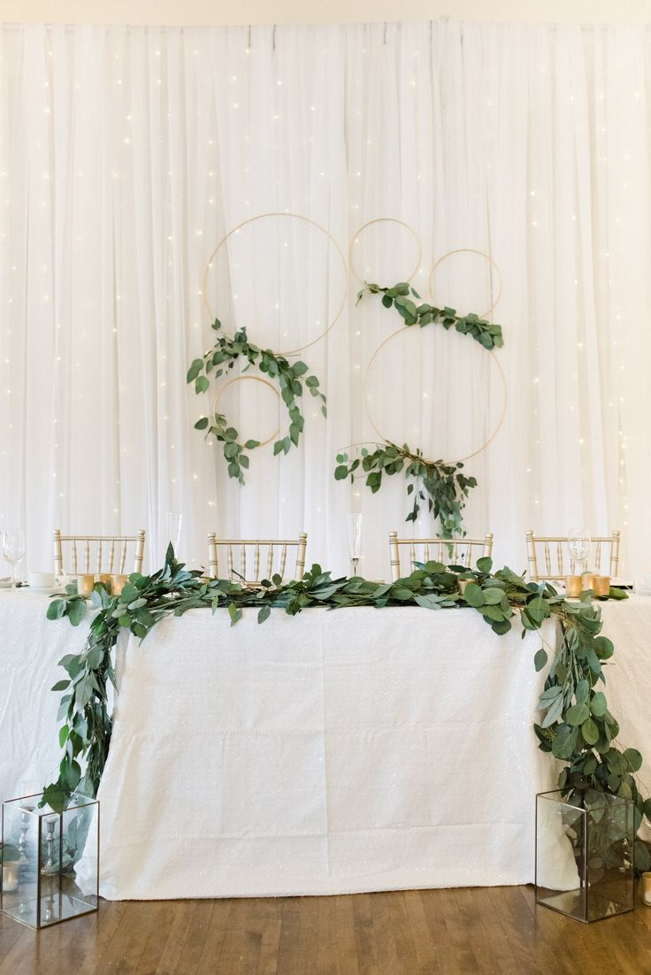 wedding backdrop. white & greenery