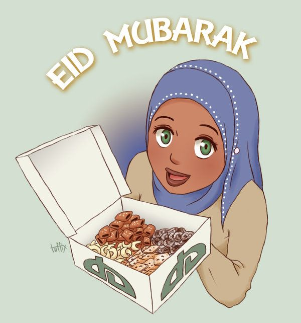 Eid Mubarak Greeting With Anime Girl Offering Sweets