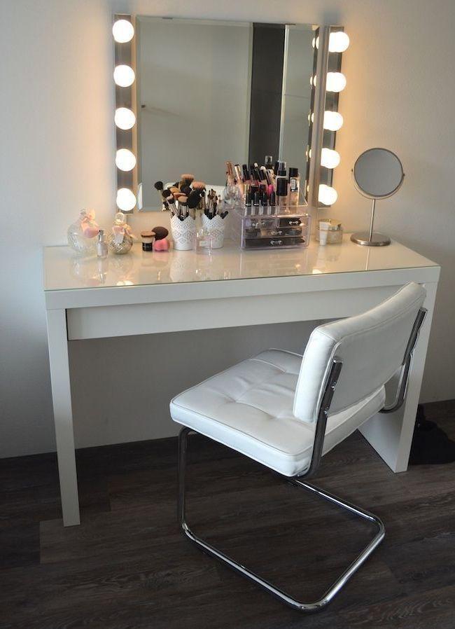 Makeup Desk Vanity Tables With Lights Makeup Room Decor Bedroom Desk Organization Girl Bedroom Decor
