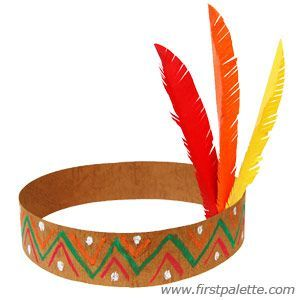 THANKSGIVING NATIVE AMERICAN HEADBANDS:     Large Feathers (Red, Yellow, Orange…