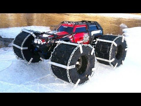 RC ADVENTURES - FLOATiNG TRAXXAS SUMMiT - iCE Chains & Floating RC TiRES - YouTube
