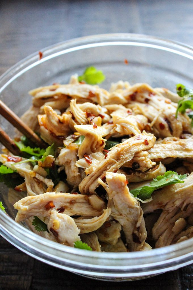 Fresh and tasty Asian style chicken salad made with juicy and tender steamed chicken breast.