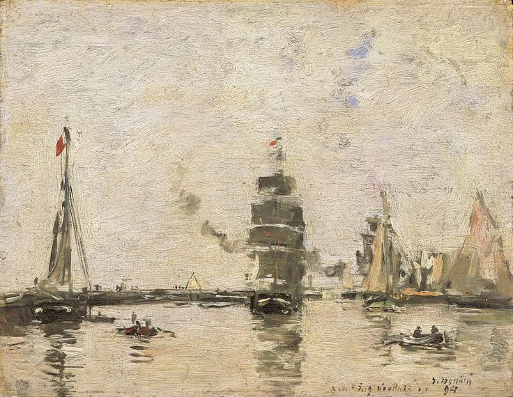 Буден, Эжен-Луи (1824-1898) - Шхуны в трувильской гавани. Музей искусств Филадельфии