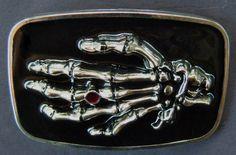 VAMPIRE HAND SKELETON SKULL BONES EVIL BLACK RING BELT BUCKLE BELTS BUCKLES