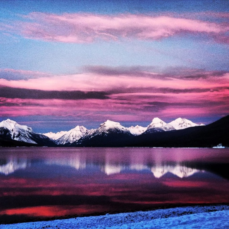 Yet another stunning picture of sunset at Lake McDonald at Glacier Park, Montana.