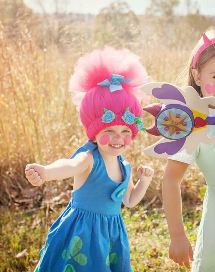 Troll Wig Branch Satin And Chenille DJ Suki Princess Poppy Smidge Trolls Headband Birthday Party Halloween 5K Toddler Teen Adult AGES 2