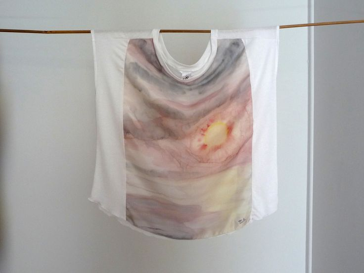 Sunrise handpainted on silk blouse