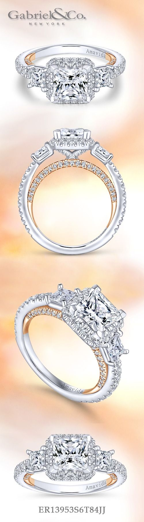 Gabriel & Co.-Voted #1 Most Preferred Fine Jewelry and Bridal Brand. 18k White/Rose Gold Princess Cut 3 Stones Engagement Ring