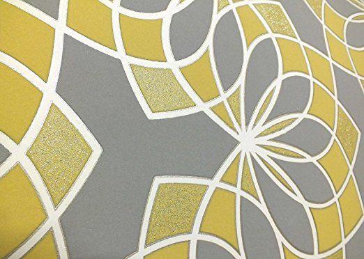 Papel pintado geométrico Bold Funky, Brillo Moderno, con purpurina en relieve, gris, amarillo, blanco Rasch: Amazon.es: Bricolaje y herramientas