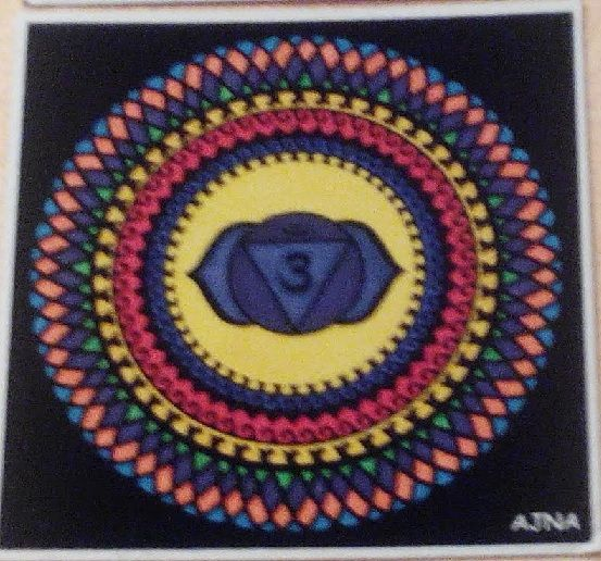 Mandala sexto chakra Ajna el del tercer ojo pintado