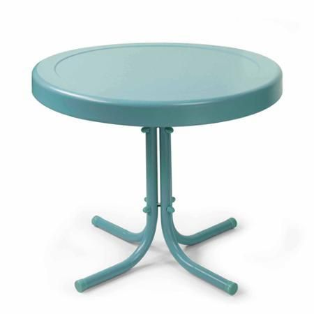 Patio Furniture Garden Table Outdoor Round Metal Blue - Tables